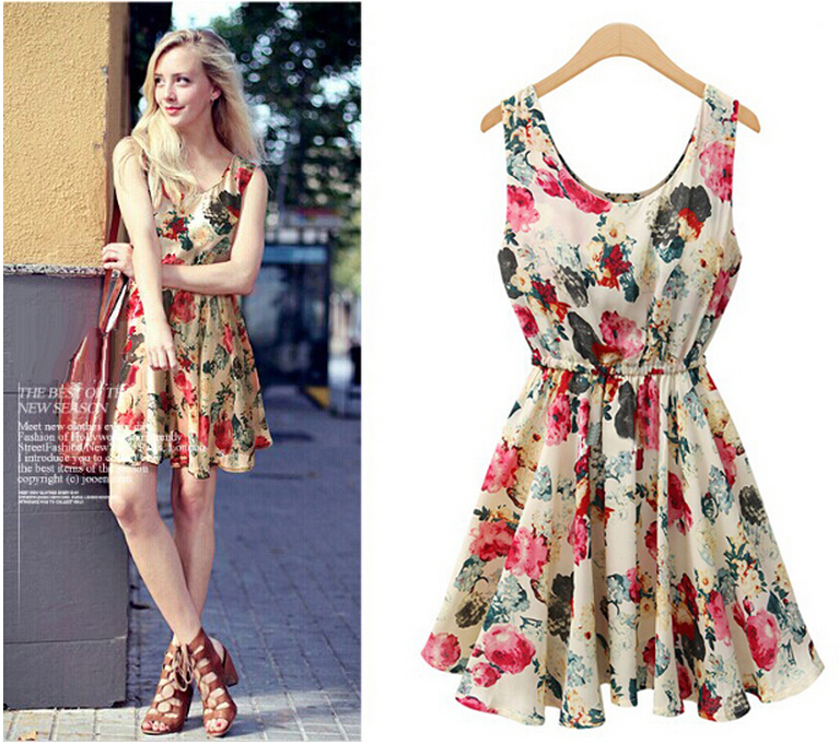 aed37a5a790 high waist cute Floral print chiffon vest women dress 2015 summer style  kawaii party dresses girl casual gown american apparel