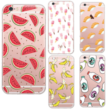 Delicious Sushi Watermelon Milk bottle Ultra Thin Transparent Soft TPU Phone Back Cover for Apple iPhone5 5S 6 6S Funda Coque
