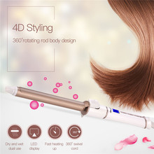 Professional Ceramic Hair Curler LED Display 19mm Curling Iron Wand Waver Temperature Adjusted Hair Styling Tool Wet Dry Use 45(China)