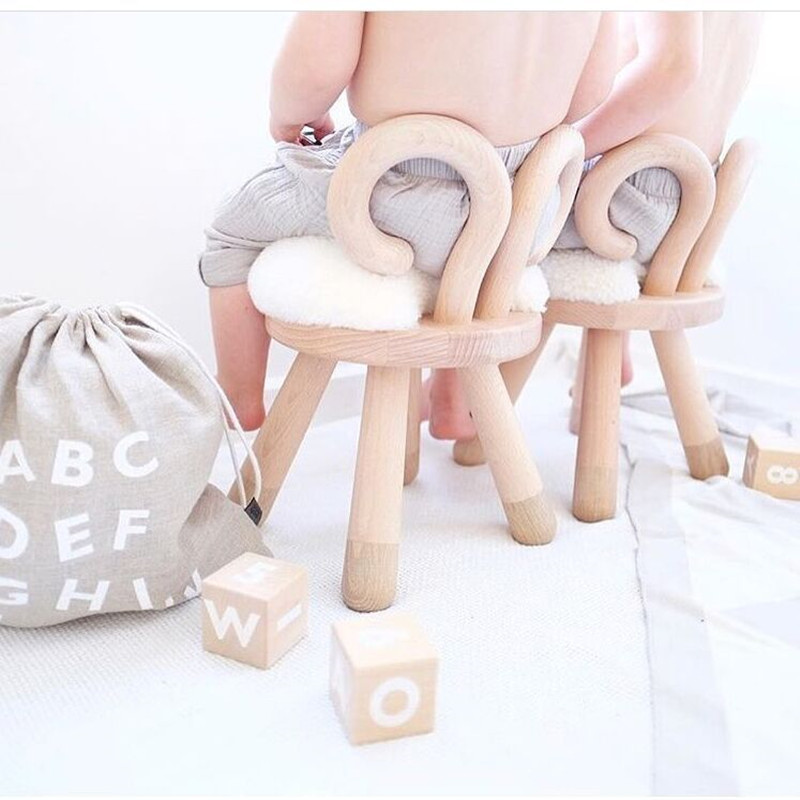 Natural Oak Wooden Animal Sheep Kids Chair Home Furniture Wooden Stool Birthday Gift Nor ...