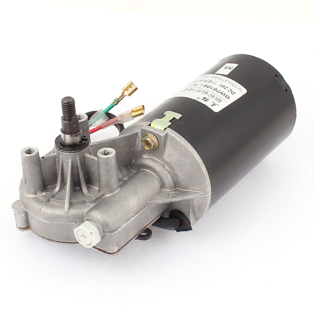 DC 24V 6.5A 50/52RPM 80kg.cm Shaft High Torque Left Worm Gear Motor Speed Reduction Reducing Electric GearBox Motor Accessory worm gear motor for the garage dc24v 52rpm 80kg cm screw thread shaft left version rolling shutter door motor