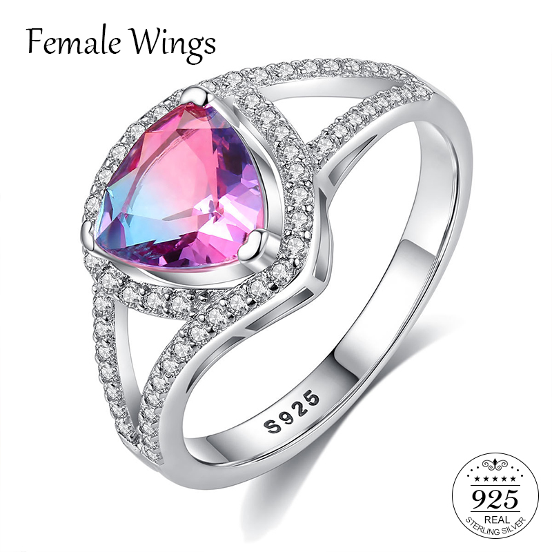 Feminine Wings 925 Sterling Silver Gemstone Jewellery Cubic Zirconia Solitaire Rings Wedding ceremony Bands For Ladies Ring Jewellery Present Fr164