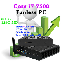 Mini Pc Fanless System computer bluetooth Optional core i7 7500 Windows 10 Linux Intel HD Graphics 620 8G RAM 128G SSD DHL Free