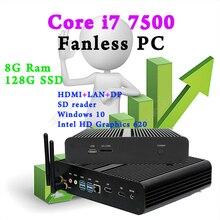 Mini Pc Fanless System computer bluetooth Optional core i7 7500 Windows 10 Linux Intel HD Graphics 620 8G RAM 128G SSD DHL Free