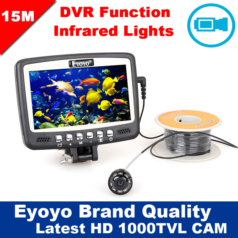 Eyoyo Original 1000TVL Underwater Ice Fishing Camera 15M Fish Finder w/ Video Recording DVR 4.3'' Color LCD Monitor 8pcs IR LED 3pcs lot eyoyo original 1000tvl underwater ice video fishing camera 15m cable fish finder 3 5 color lcd monitor fishfinder