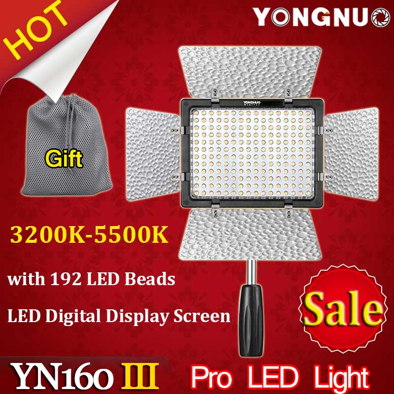 Yongnuo YN160 III 3200-5500K CRI95 160 LED Video Light for Canon Nikon Sony DSLR & Camcorder накамерный свет yongnuo led yn 160 iii 3200 5500k
