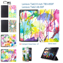 MTT Aquarelle 2016 New Tab3 8 inch Tablet TB3-850M Case Flip Cover For Lenovo Tab 3 8 TB3-850F Tablet case Tab2 A8 A8-50F case