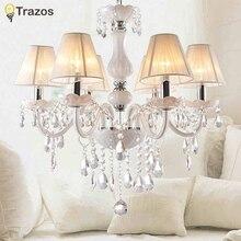 Новый Современный Белый хрустальные люстры для Гостиной Спальня крытый лампа кристалл K9 люстры де teto потолочная люстра