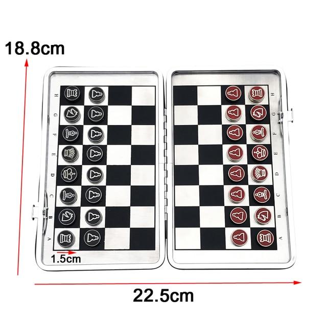 Mini jeu d'échecs pliant magnétique Portable en alliage 2