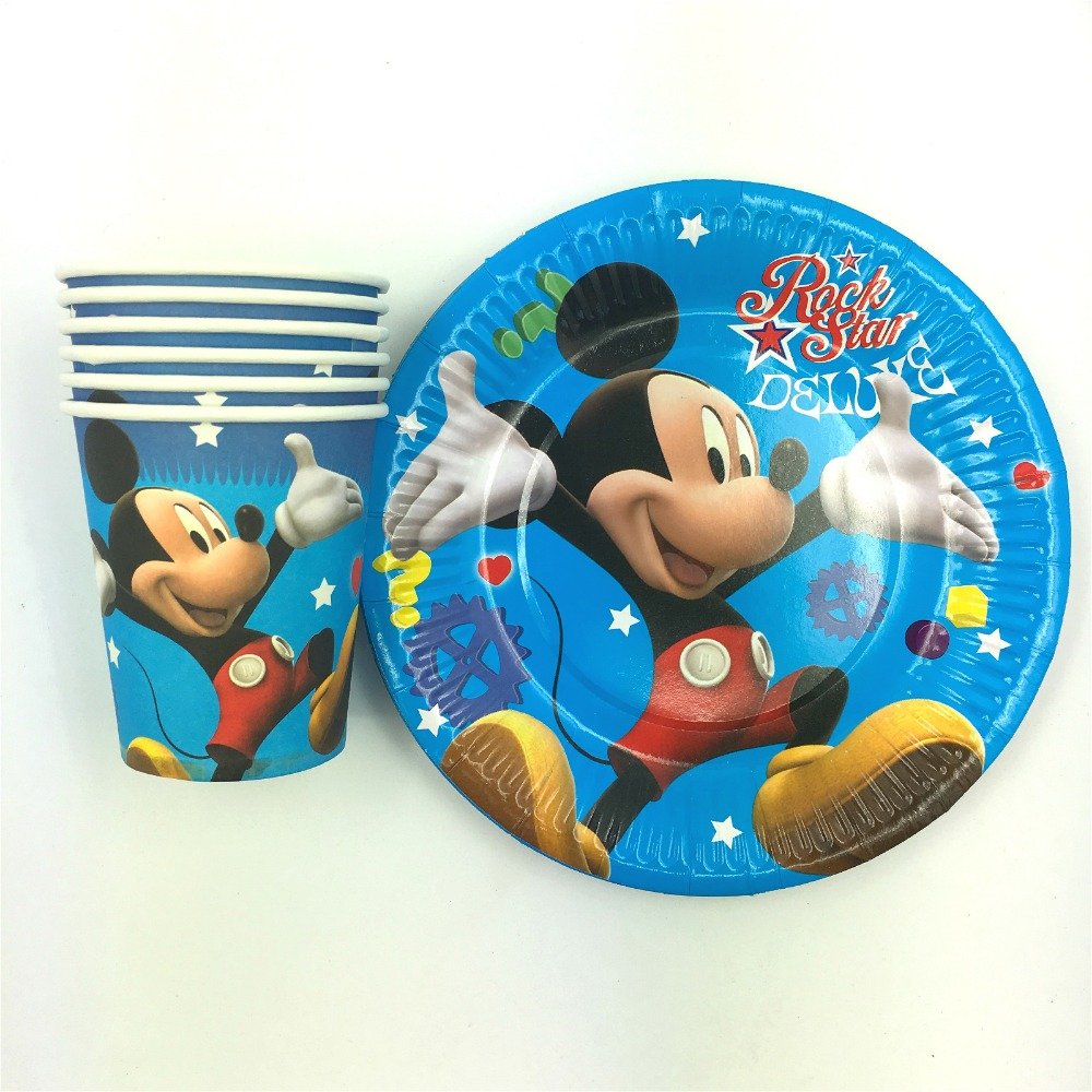 20pcs cups+20pcs plates+20pcs napkin minnie mickey mouse party favor items kids birthday party decoration for 20people use