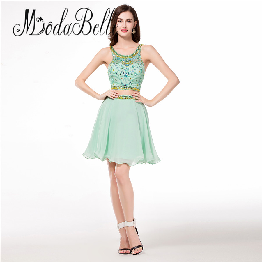 modabelle 2 Pieces Homecoming Dresses Short Beaded Sage Green A Line Vestido De 15 Anos Curto High School Graduation Gowns 2017