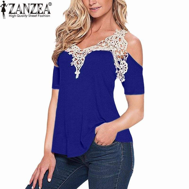 Zanzea remiendo del cordón 2017 mujeres sexy blusa de verano blusas fuera hombro