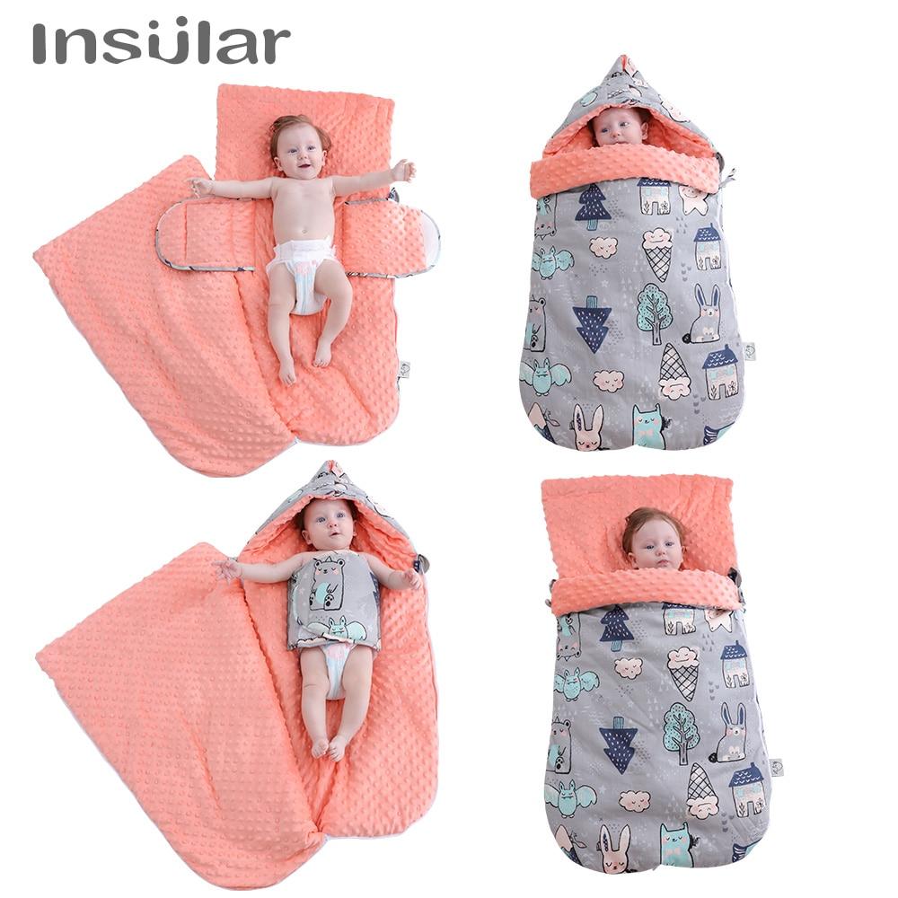 Insular Winter Cotton New born Baby Swaddle Wrap Infant Receiving Blankets Toddler Sleeping Bag Stuff for Newborns Sack Stroller