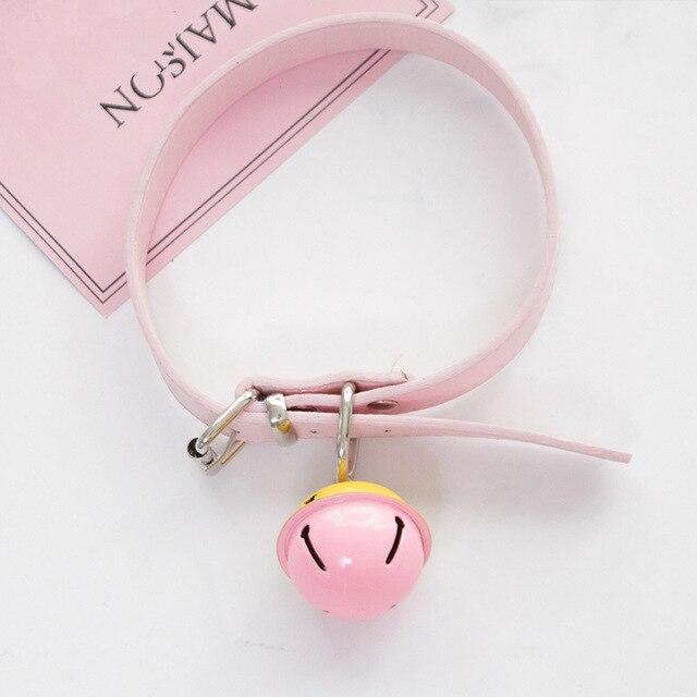 Sexy słodkie Choker smycz łańcuch różowy czarny Harajuku ręcznie Gothic Punk naszyjnik ze skóry z dzwoneczkami Sex zabawki dla pary kołnierz