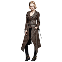 Steampunk V Neck Long Sleeve Vintage Coffee Removable Jacket For Ladies Fashion Single Button Long Short
