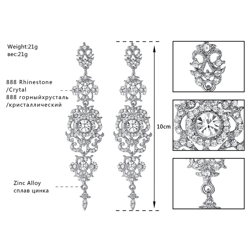 Minmin kolor srebrny Kryształowy żyrandol Ślubne długie kolczyki - Modna biżuteria - Zdjęcie 4