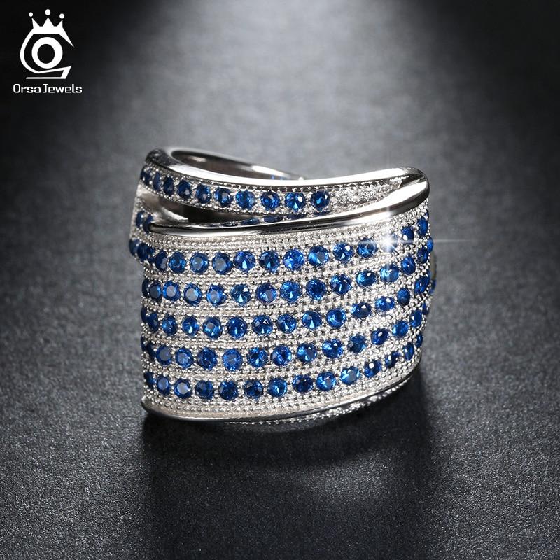 ORSA JEWELS Luxus divatos környezetbarát menyasszonyi gyűrű női gyűrűk kék mikro osztrák cirkónia esküvői ékszer OR91
