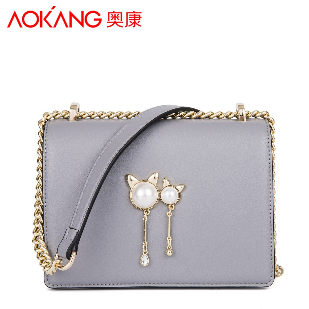 Aokang 2018 spring&summer new arrival simple design split leather ladies totes female solid handbags casual euremerican totes new arrival ship pattern design brooch for female