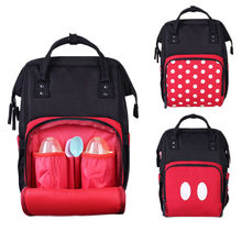 2Pcs/Set Mickey Mouse Mummy Maternity Nappy Bags Multifunctional Baby Products Storage Bag Travel Portable Baby Care Backpack(China)