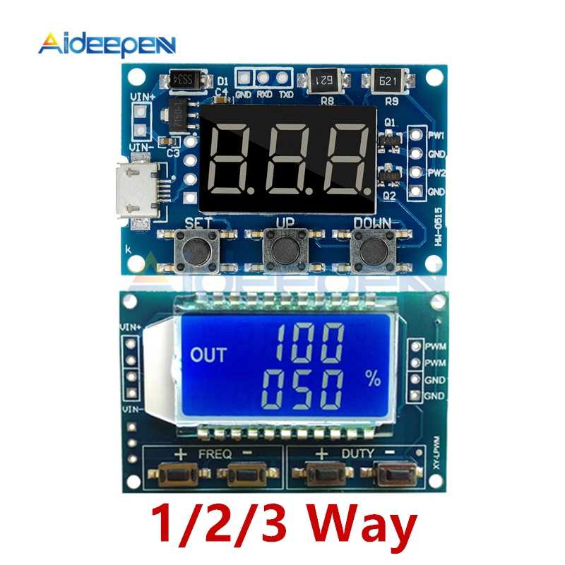 1/2/3 Way Signaal Generator PWM Pulse Frequency Duty Cycle Verstelbare Module LCD Display 1Hz- 150Khz 3.3 V/5 V-30 V PWM Board Module