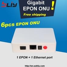 Bliy משלוח חינם 6pcs gigabit epon onu olt 1 pon 1 ethernet מתג יציאת עם ZTE שבב תואם עם fiberhome וכו olt epon