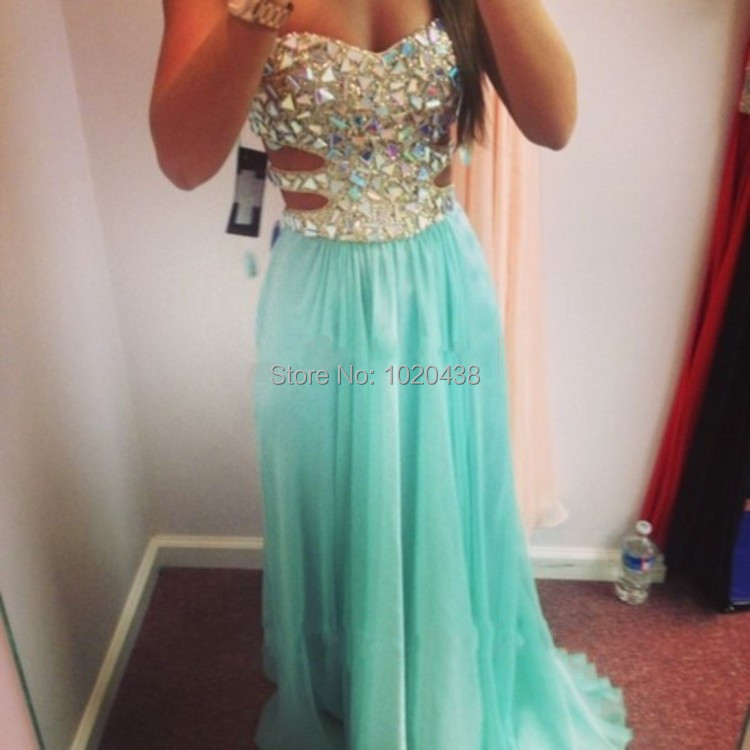 Elegant Gestante Crystal Beaded Sweetheart Side Cut Outs Long Turquoise Chiffon Prom Gowns Women Party 2019 new   bridesmaid     dress