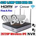 Sistema de segurança 720 P WI-FI NVR 1.0MP Onvif P2P Câmera IP e Câmera de CCTV sem fio À Prova D' Água recorcer WIFI vigilância NVR kit