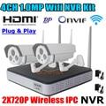 Sistema de seguridad 720 P NVR WIFI 1.0MP Impermeable Onvif P2P Cámara IP inalámbrica y Cámara CCTV recorcer WIFI NVR vigilancia kit