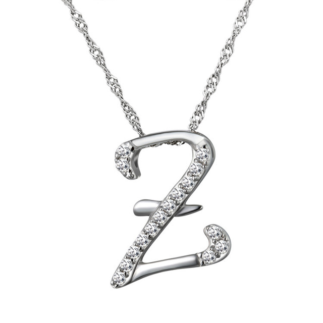Letter Z Necklace ALP 10pcs/lot New Fashion Alphabet Necklace Silver Crystal Letter Z charm  Necklace for you with free Cavicle chain