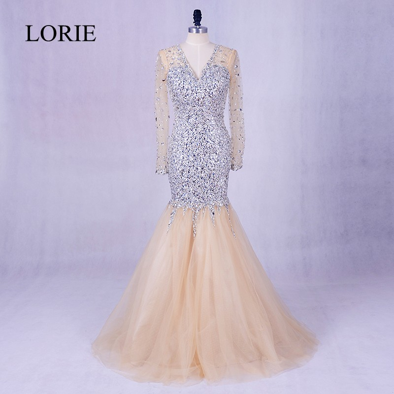 Robe De Soiree Long Sleeve Evening Dress 2018 LORIE Crystals Bling Champagne Mermaid Prom Dress Formal