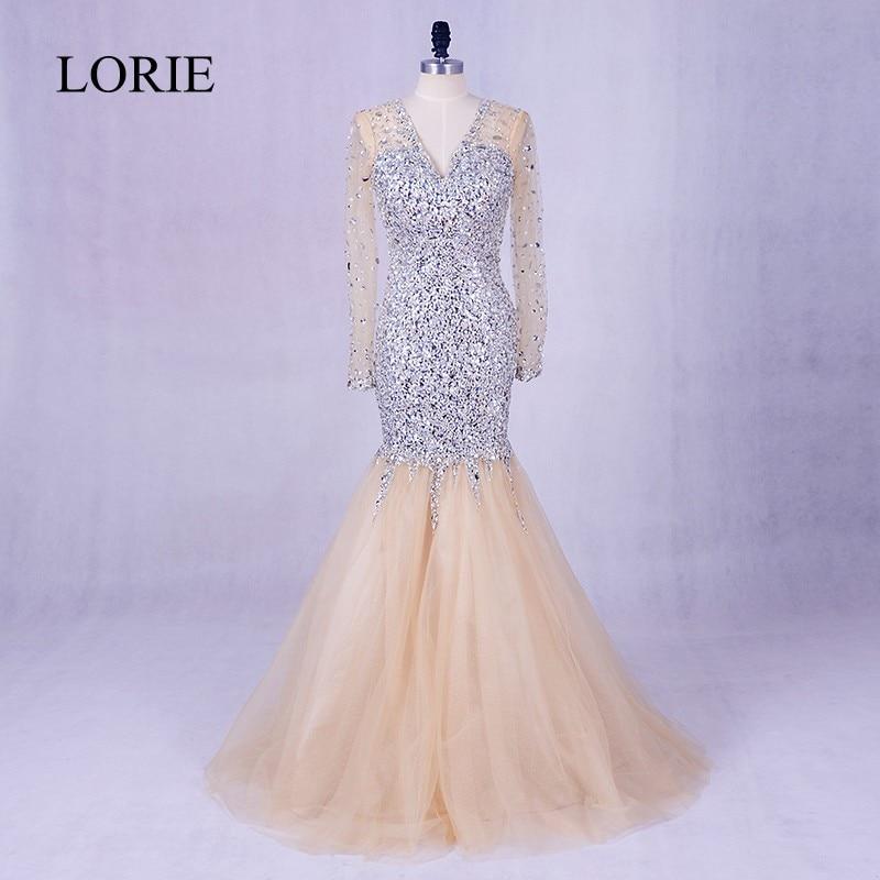 Robe De Soiree avondjurk met lange mouwen 2018 LORIE kristallen Bling Champagne zeemeermin galajurk formele lange jurken voor bruiloften