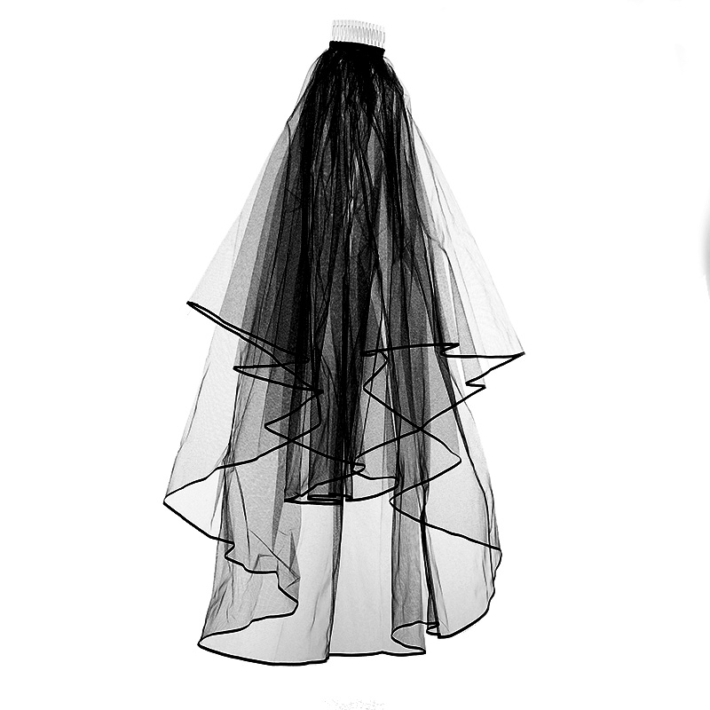 Fashion Black Ribbon Edge Simple And Elegant Wedding Dress Veil Bridal Tulle Veils With Comb Bridal Veils Wedding Accessories