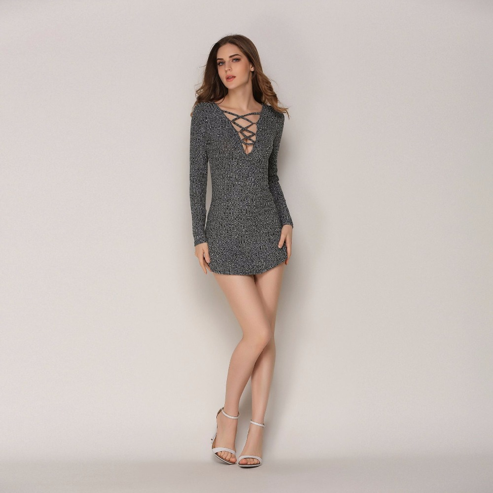 Long Sleeve Tunic Winter Dress Sexy Deep V-Neck Hollow Out Vestidos Solid Casual Women Bodycon Elegant Knitted Sweater Dress elegant turtle neck solid color hollow out sleeveless bodycon dress for women
