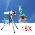 Hd 18x zoom óptico telescópio lente telefoto para samsung s3 s4 Kit Lentes de borda Mais Casos de Telefone S5 S6 S7 Com Clips tripé