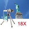 Hd 18x zoom óptico telescopio lente telefoto teleobjetivo para samsung s3 s4 Kit de Lentes de Teléfono S5 S6 S7 borde Más Casos Con Clips trípode