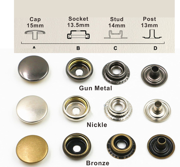 US $14 0 |Aliexpress com : Buy DIY 90sets/lot 15mm four part brass metal  button ring snap press button snap fasteners silver / bronze / black  #201/405