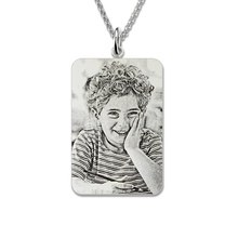 Wholesale Rectangle Engraved Photo Necklace Sterling Silver Custom Picture Necklace Photo Keepsake Mother's Day Gift necklace 925 sterling silver custom photo