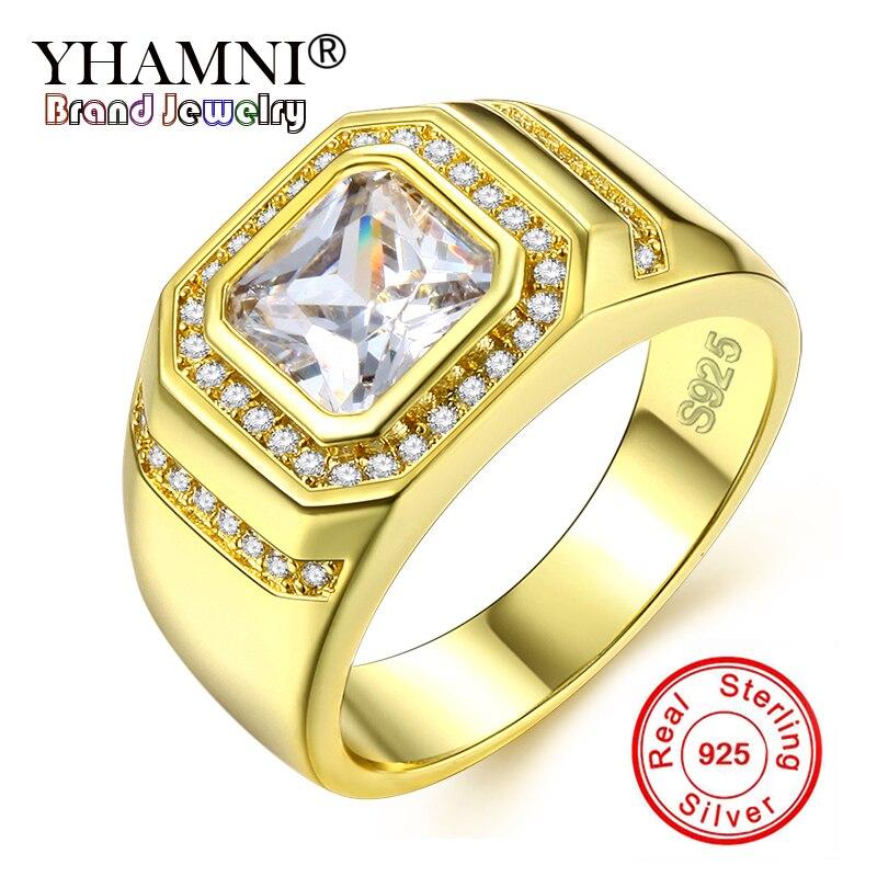 5db561570894 YHAMNI lujo oro Color hombres anillo 100% Original 925 Plata CZ Zircon  anillos de boda