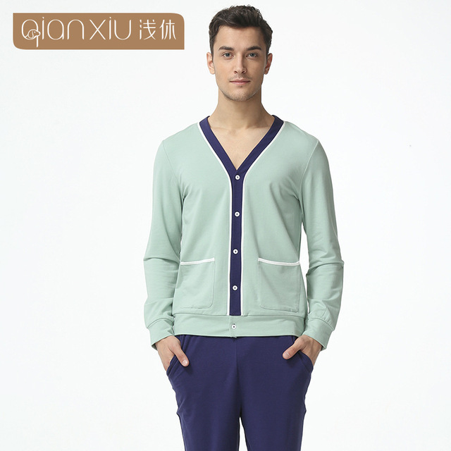 2016 High 100% cotton Men's Long Sleeve V-neck Modal Comfortable Spring Autumn Pajamas Sets for men1619