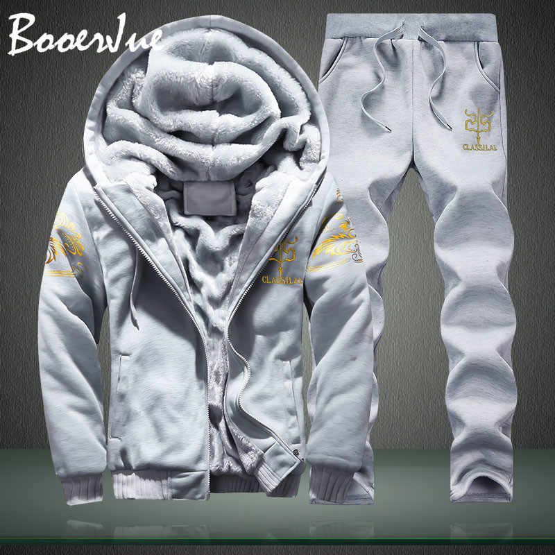M-4XL Winter Innere Fleece Hoodies Männer 2019 Casual Kapuze Warme Sweatshirts Dicken Trainingsanzug 2PC Jacke + Hose Männer Moleton masculino