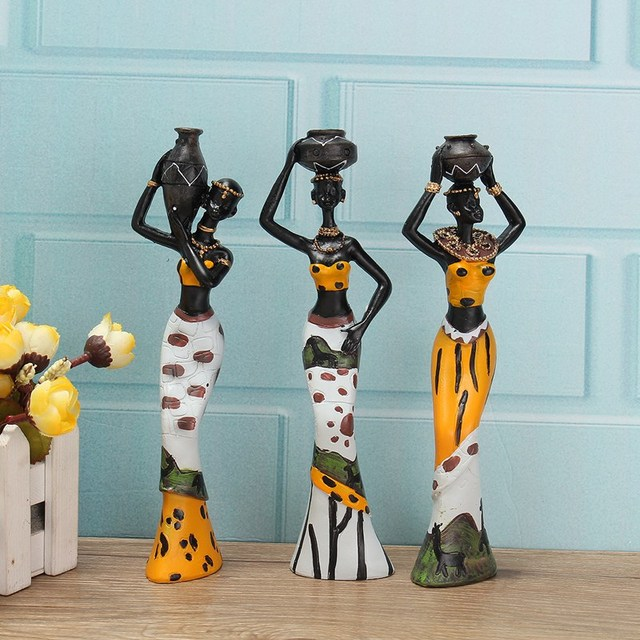 Hot Sale 3PCS African Lady With Vase Ornament Ethnic Statue Sculptures  National Culture Table Figurine Crafts