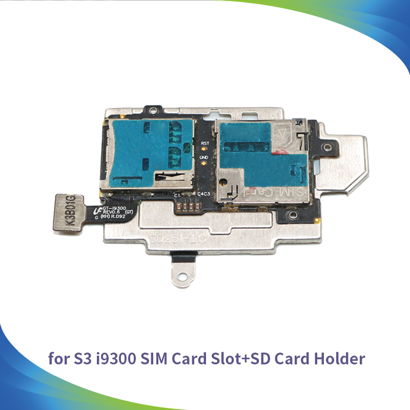 High Quality Phone Parts SIM Card and Memory SD Card Contact Holder Flex Cable for Samsung Galaxy S3 S III i9300 GT-I9300