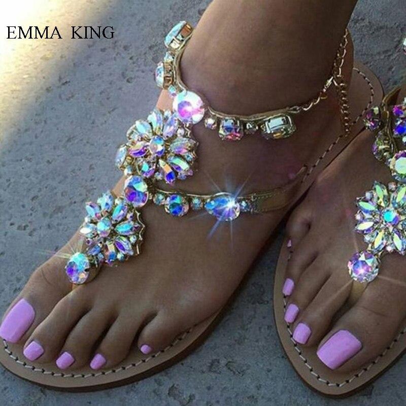 Été bohème Style Bling cristal fleurs tongs sandales femmes décontracté chaussures d'été femme plat sandales chaussures de plage femmes