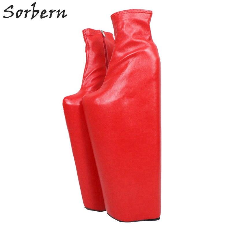 Sorbern/красные полусапожки на высоком каблуке 40 см, обувь на танкетке, женская обувь на толстой платформе, женские ботинки для косплея, очень в