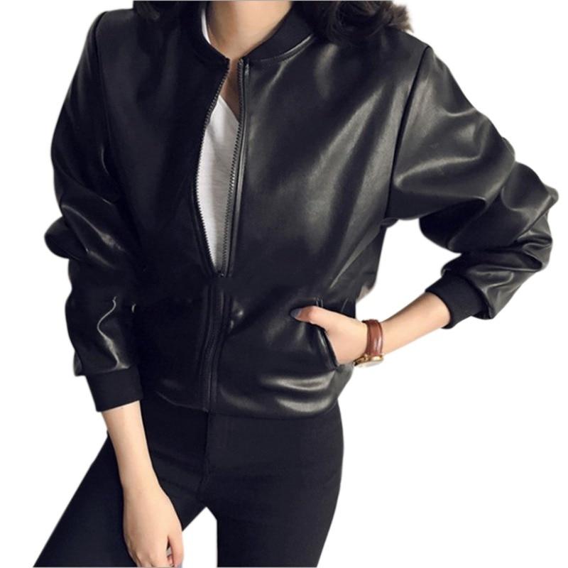 2018 Women Slim Black Zipper Jackets Fashion PU   Leather   Jacket Long Sleeved Coat