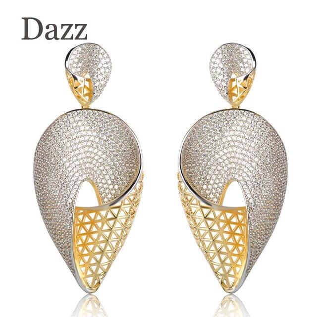 Dazz Luxurious Heart Shape Large Drop Earrings Full Cubic Zircons Two Tones Colors Copper Women