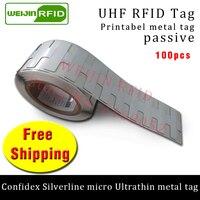 UHF RFID Ultrathin Metal Tag Confidex Silverline Micro 915m 868mhz M4QT EPC 100pcs Free Shipping Printable