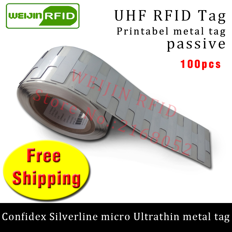 UHF RFID ultrathin metal tag confidex silverline micro 915m 868mhz M4QT EPC 100pcs free shipping printable PET passive RFID tag cmm0511 qt 0g0t rf if and rfid mr li