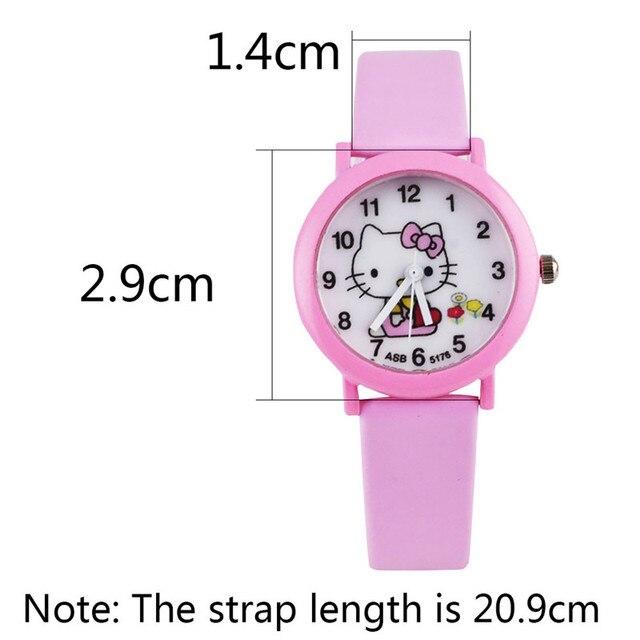 2018 Hello Cartoon KT Watches Kid Girls Leather Straps Wristwatch Children KT Qu