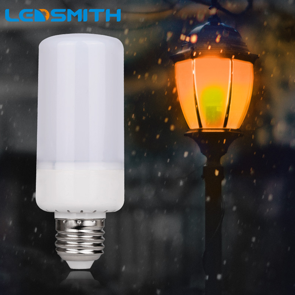 LEDSMITH Dynamic Flame Effect LED Holiday Light Corn Bulb Lamp 85-265V E27 E14 Simulation Fire Burning Flicker Christmas Lights zjright smart wireless bluetooth music led lighting bulb e27 rgbw full color lamp dynamic flame led light home party effect bulb